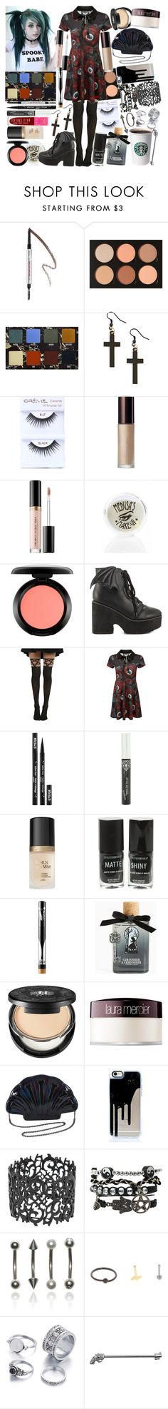 """""""You're playing ring around my head I wear you like a halo. You're a symphony, I'm just a sour note"""" by thelyricsmatter ❤ liked on Polyvore featuring Benefit, Anastasia Beverly Hills, Becca, Sephora Collection, Medusa's Makeup, MAC Cosmetics, Iron Fist, Killstar, Kat Von D and Jeffree Star"""