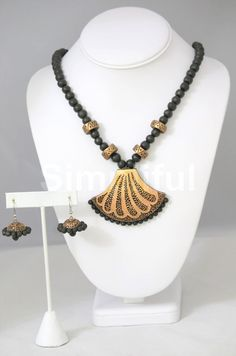 Terracotta Etched Cream Necklace and Earring set