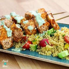 Why not try this Low Syn Cumin Dusted Salmon Skewers with Moroccan Style Cous Cous? The perfect Slimming World dinner, it& so quick and easy! Slimming Eats, Slimming World Recipes, Salmon Recipes, Fish Recipes, Skewer Recipes, Prawn Recipes, Seafood Recipes, Salmon And Cous Cous, Kitchens