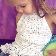 Crochet white toddler top/ ruffles crochet top/ Festival top/ Baby crochet crop top/ Open back top/ Crochet bohemian top/ Crochet halter top by ElenaVorobey on Etsy