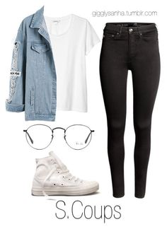 """Park Date // S.Coups"" by suga-infires ❤ liked on Polyvore featuring Monki, H&M, Converse and Ray-Ban"