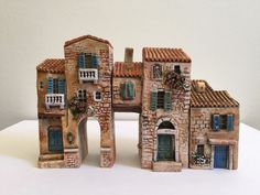 3 MINIATURES DOMINIQUE GAULT J CARLTON  PARIS PROVENCE VILLAGE ART BUILDING