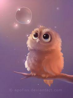 The Little Guardian, Owl art by Apofiss Art And Illustration, Illustrations, Owl Art, Bird Art, Fantasy Kunst, Fantasy Art, Art Mignon, Cute Owl, Cute Drawings