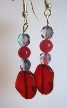 Red Glass and Czech Earrings by SmithNJewels on Etsy, $9.99