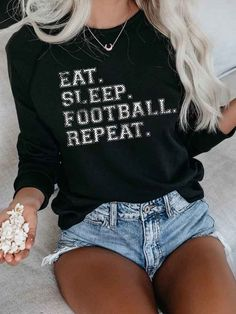 Football Is The Reason For The Season Sweatshirt – ouslily Crew Neck Sweatshirt, Pullover, Distressed Denim Shorts, Shirt Style, Colorful Shirts, Football, My Style, Long Sleeve, Cotton
