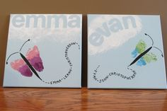 Making butterflies with the grandkids footprints on canvas. Makes cute pictures for their bedrooms or great mother's day or grandparents day gifts.