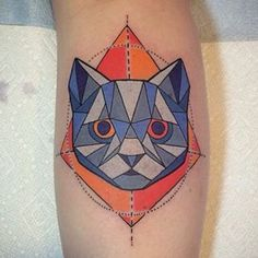 Fun geometric cat portrait by Adam Fox @adamfox #geometrictattoo #cattattoo #colortattoo #tattoos #tattooart #speakeasytattoo #speakeasycustomtattoo #speakeasytattoochicago #chicagotattoo #chicagotattooshops #chicagotattooartist #chicagotattooparlor