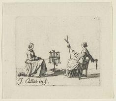 Garenwindster en spinster, Jacques Callot, 1621