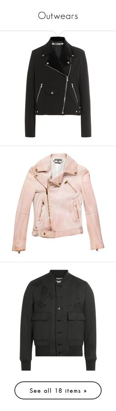 """Outwears"" by oliverqueeninoku ❤ liked on Polyvore featuring outerwear, jackets, black, moto zip jacket, mcq by alexander mcqueen, wool zipper jacket, wool jacket, biker style jacket, pink and 100 leather jacket"
