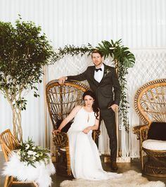 Styled Shoot Turned Into a Surprise Wedding // greenery macrame lounge with peacock chairs Peacock Wedding, Boho Wedding, Dream Wedding, Wedding Greenery, Wedding Reception, Wedding Designs, Wedding Styles, Wedding Portraits, Wedding Photos