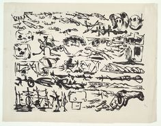 """A Letter, David Smith, lithograph, 1952 """"In this print, Smith created the sense of a letter whose contents are just out of reach, written in a hieroglyphic or pictographic language that combines the suggestive abstract and non-specific figurative aspects of his sculpture."""""""