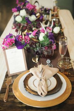 purple and gold tablescape // photo by Sarah McAffry // http://ruffledblog.com/luxe-winter-wedding-ideas
