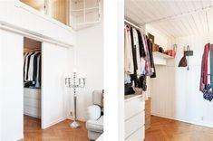 Ötletek kis lakáshoz: galéria-gardrób kombináció