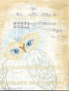 Owl digital print original artwork Cathleen by Cathleendeontiveros