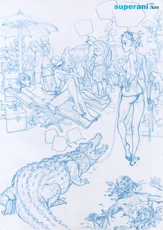 "06 ""krokodil"" door Jung-Gi Kim origineel te koop bij - W. Figure Sketching, Figure Drawing, Drawing Sketches, Art Drawings, Junggi Kim, Kim Jung, Creative Sketches, Crocodile, Art Reference"