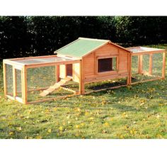 """Pawhut 122"""" Outdoor Wooden Animal House Guinea Pig Rabbit Hutch Cage w/ 2 Runs"""