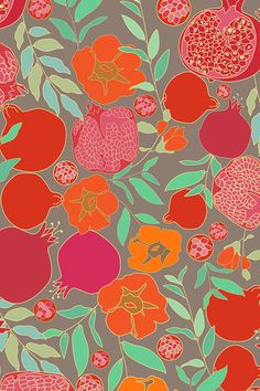 Pomegranates by zeinab - Orange and red hand drawn pomegranates with jade green leaves on a gray background on fabric, wallpaper, and gift wrap. Watercolor Fruit, Easy Watercolor, Watercolor Flowers, Pomegranate Art, Colorful Quilts, Textiles, Pattern Wallpaper, Fabric Wallpaper, Artist Art