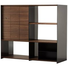 Preowned Luca Nichetto For De La Espada Mitch Cabinet, Danish-oiled... ($8,490) ❤ liked on Polyvore featuring home, furniture, storage & shelves, cabinets, black, black lacquer cabinet, black lacquer furniture, black walnut cabinets, black cabinet and door cabinet