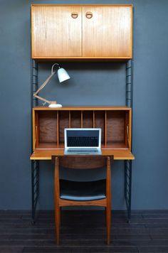 Vintage Mid Century Teak Ladderax Bookshelf / Desk / Modular Shelving System in Antiques, Antique Furniture, Bookcases | eBay