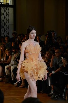 """This lovely and highly organic frou frou of a """"gown"""" was 3D printed for fashion designer Iris van Herpen - formerly an Alexander McQueen intern. In 2011, TIME named her 3D printed garments to its Best Inventions of the Year."""