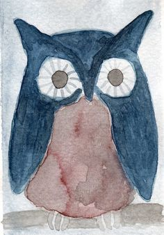 Watercolor Painting: Watercolor Illustration Owl -- Mini Art Print -- Little Blue Owl -- ACEO Print