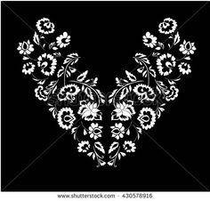 Floral design , neck line embroidery. Black and white vector illustration hand drawn. Fantasy flowers pattern.