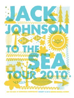Jack Johnson concert poster  Kansas City- Aug 16, 2010  hand made 2 color screen print  poster measures 18 inches x 24 inches  signed & numbered edition of 150  artist:  Tad Carpenter (Vahalla Studios)