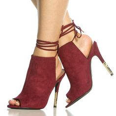 Shoespie Half Metal Heel Lace Up Sandals