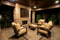 Patio: Wood Ceiling, Fireplace, Covered TV