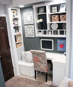Home Office Built Ins Closet Space 21 New Ideas Closet Turned Office, Home Office Closet, Office Built Ins, Office Nook, Basement Home Office, Apartment Office, Office Storage, Basement Ideas, Small Office Decor
