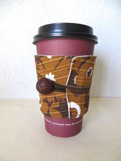 Fabric Coffee Cozy Vintage Brown Design by ThreadBasket on Etsy, $7.50