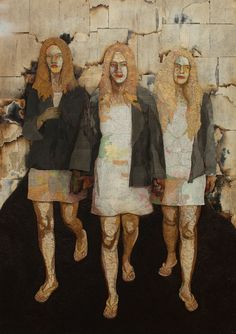 """Matthew Cusick """"Charlie's Angels"""" 64 x 48maps, book pages, Folger's coffee, ink, on wood panel"""