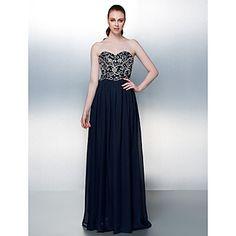 Formal Evening Dress A-line Strapless Floor-length Chiffon Dress – USD $ 129.99