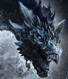 Viserion is a dragon that the Night King slayed and reanimated as a wight. He is one of the three dragons born in the Dothraki Sea, along with Drogon and Rhaegal, and is named after Daenerys Targaryen's elder brother, Viserys. Ice Dragon Game Of Thrones, Dragon Tattoo Game Of Thrones, Art Game Of Thrones, Game Of Thrones Dragons, Dragon Head Tattoo, Fantasy Kunst, Dark Fantasy Art, Fantasy Artwork, Dragons Got