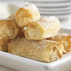 Apple-Ginger Egg Rolls - The Pampered Chef®  This looks so yummy!  I am going to give them a try.