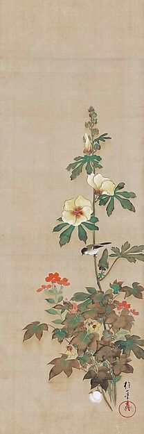 Sakai Hōitsu. One Japanese hanging scroll of a series: Birds and Flowers of the Four Seasons. Edo period. Rinpa School.