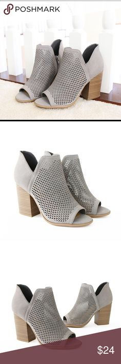"caster light gray perforated bootie sandal Style                : Booties, Peep toe Sandal Heel Height     : 3 1/2"" Shaft Height    : 4 1/4"" Condition        : New in Box Main Color      : Light Gray Main Material   : Faux NuBuck Fit                     : True to Size Perforated Peep Toe Zip Faux Stacked Heel Soda Shoes Ankle Boots & Booties"