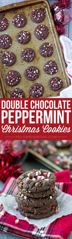 Double Chocolate Peppermint Christmas Cookies made with just 5 ingredients!