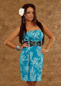 ed2976f7bef Robe mi-longue bustier femme bleu turquoise avec motifs blanc avec ceinture  par UnCadeauUnSourire.com