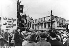 The hunger-winter of 1947, thousands protest against the disastrous food situation (31 March 1947).
