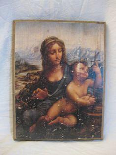 MADONNA of the YARNWINDER, wood board, wood wall art, Handmade wood print. Home decor, Renaissance Art di KnockOnWoodCraft su Etsy