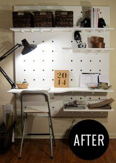 DIY Peg Board Workspace #amandatotorodesign #interiordesign #edesign #edecor #onlinedesign #diydesk #simplediyproject #homeprojects #designb...