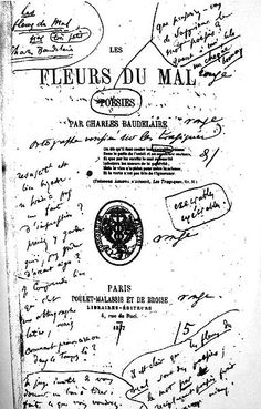First Edition of Les Fleurs du Mal with Charles Baudelaire's notes scribbled inside