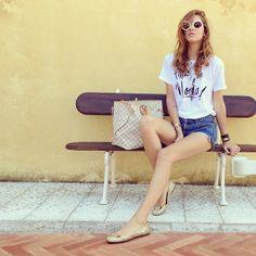 Chiara Ferragni wearing chiaraferragni slippers, vintage levi's shorts