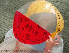 kinetic sight word activity - Sight words on beach ball. When the child catches it, they have to read the word that their right thumb is on and throw it back to partner. Cheap and fun. Sight Word Spelling, Sight Word Games, Sight Word Activities, Language Activities, Reading Activities, Literacy Activities, Sight Words, Teaching Reading, Reading Centers