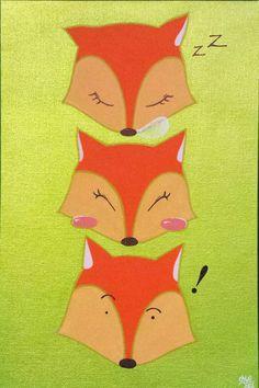 Renards à l'acrylique sur toile collée.🎨 #peinture #illustration #renard #fox #acrylique #bebe #enfant #toilecollee #animal #art #drawing #painting #baby #child #deco #chambrebebe #chambreenfant #babyshower #babyroom #childroom #childdesign #decorationchild #design #tableau #picture #posca 👍#lapetitefabriquechloesakura on facebook.