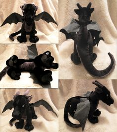 Black Dragon Plushie by Astrocat.deviantart.com on @deviantART