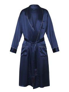 SILK GOWN IN NAVY Best Dressing Gown, Mens Silk Pajamas, Men's Robes, Smoking Jacket, Dapper Gentleman, Silk Gown, Loungewear, Nightwear, Night Gown