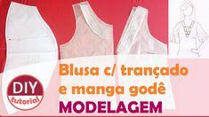 Blusa com amarração no decote e manga godê - parte 1: modelagem (DIY Tut...