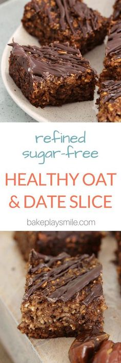 Healthy Snacks For Kids Healthy Oat and Date Slice - This Healthy Oat and Date Slice is so quick and easy to prepare! Filled with oats, chia seeds and dates. it's the perfect clean eating treat! Sugar Free Recipes, Baking Recipes, Sweet Recipes, Cake Recipes, Dessert Recipes, Parmesan Recipes, Meal Recipes, Quick Recipes, Healthy Cake